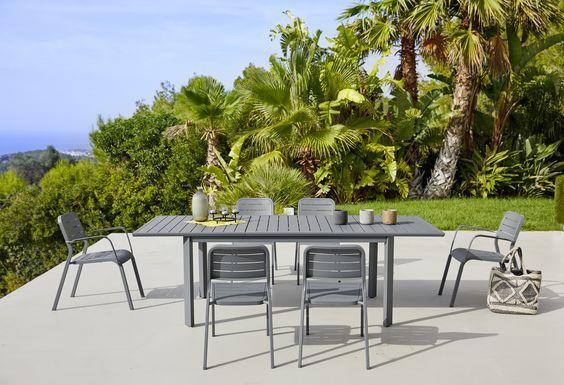 Ensemble De Mobilier Exterieur En Aluminium Chaises Et Table Aluminium Gamme En 2020 Table De Jardin Alu Mobilier Jardin Chaise De Jardin