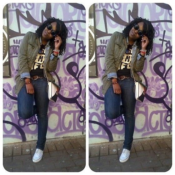 Vero Moda Military Jacket, Sissy Boy Skinny Jeans, Mr. Price Music Is My Life T Shirt, White Converse Sneakers, Soulful Chemistry Gold Chain Bracelet, Multi Colored Envelope Bag, Round Sunglasses, Guess? Denim Jacket