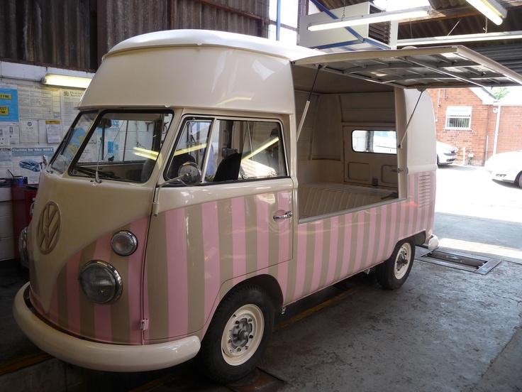 Remodelled Kombi Ice Cream Truck. Love the Neapolitan colour scheme!