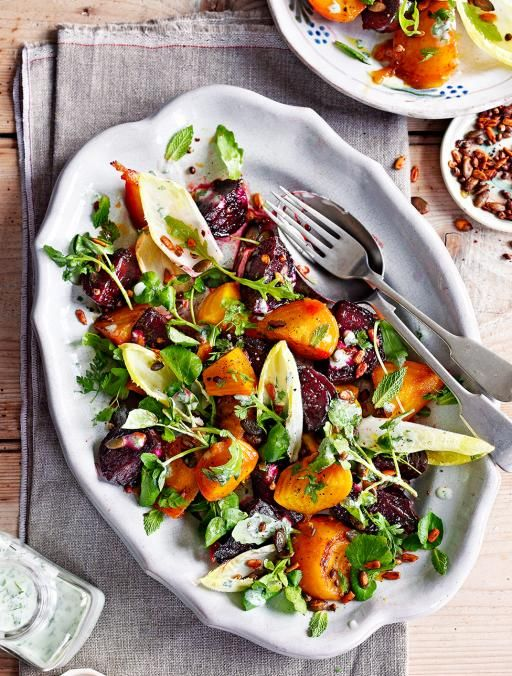Candied beet salad with buttermilk dressing. An incredible salad – the striped candy cane beets are perfect with the savoury toasted seed | Jamie Magazine