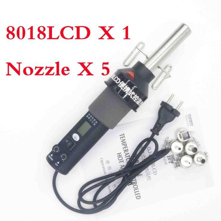 EU 220V/ US 110V 450W   LCD Adjustable Electronic Heat Hot Air Gun Desoldering Soldering Station IC SMD BGA + 5 Nozzle 8018LCD