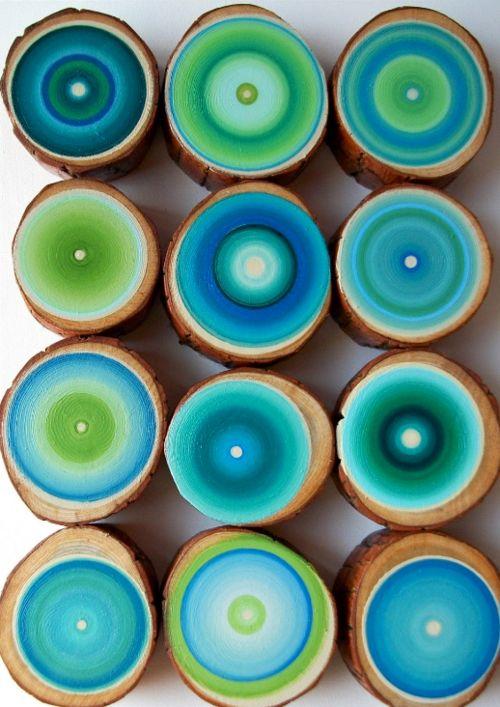 Painted wood circles green blue aqua teal turquoise