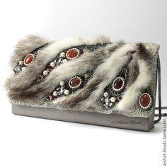 Купить Эльзас - Клатч с мехом норки - клатч, стильный, клатч из бисера, вышитый клатч