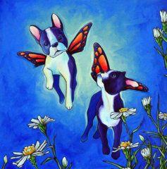 Monarch Butterfly Painting - Butterfly Dogs by Lisa Rosenmeier