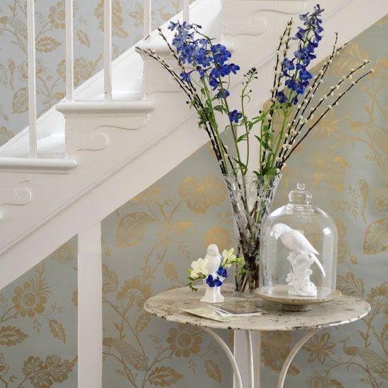 105 best hallways images on pinterest foyers hallway for Hallway wallpaper ideas