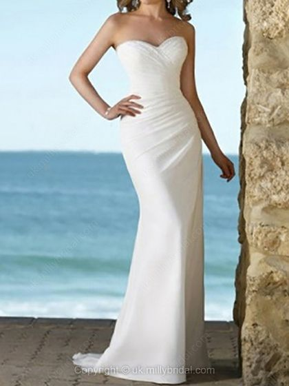Sheath/Column Sweetheart Chiffon Sweep Train Ruffles Wedding Dresses -USD$159.34