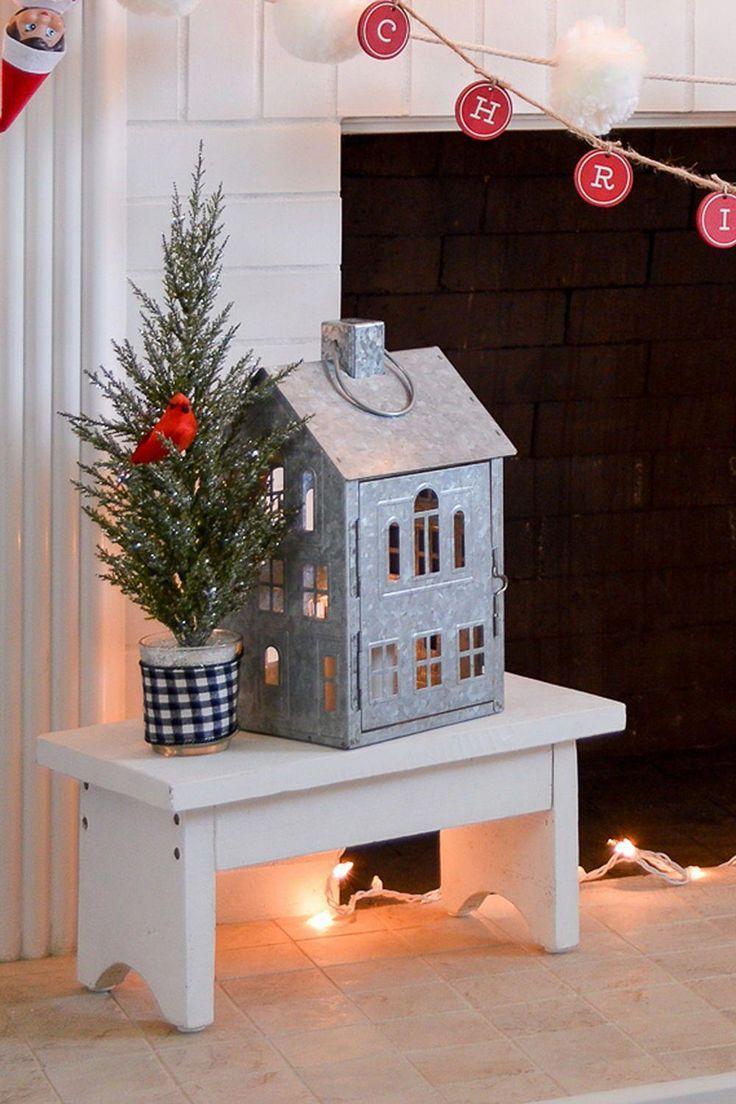 Better Homes Gardens Galvanized House Candle Holder Lantern Walmart Com Diy Christmas Decorations Easy House Candle Holder Christmas Fireplace Decor