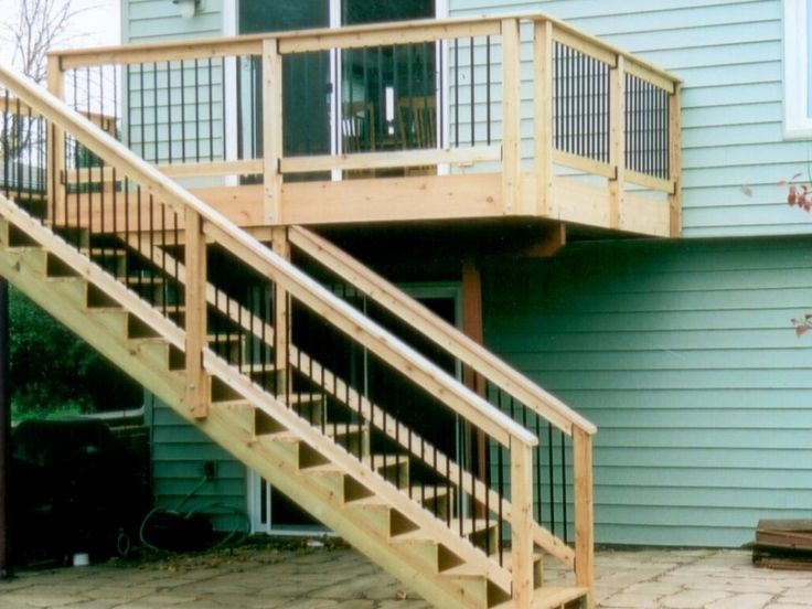 Exterior:Outstanding Deck With Stair Design For Outdoor Home Decoration With Turquoise Wood Home Light Brown Wood Stair And Light Brown Wood...