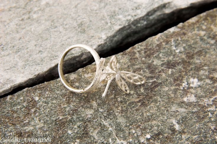 Sterling Silver Drangonfly on twig, nature jewelry, nature ring, twig ring, branch ring, birthday gift, Anniversary gift, by ANEMONENATURAL on Etsy