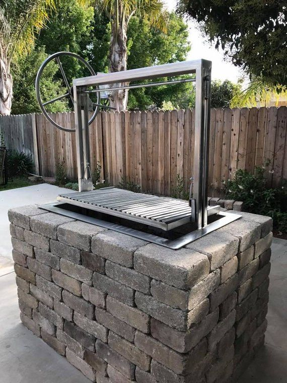 36x24 Stainless Santa Maria Countertop Drop In Frame With Height Adjustable Rotisserie By Jd Fabrications Outdoor Kitchen Design Outdoor Brick Bbq