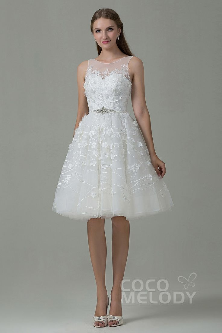 A-Line Illusion, Knee Length, Tulle Dress w/ Zipper & Appliques#cocomelody #weddingdress
