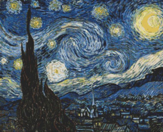 Vincent Van Gogh Starry Night  Counted Cross Stitch by FredSpools, $38.00