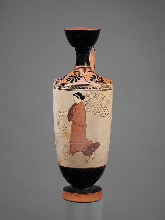 Terracotta lekythos (oil flask) Attributed to the Carlsruhe Painter Period: Classical Date: ca. 460–450 B.C. Culture: Greek, Attic Medium: Terracotta; white-ground Nike