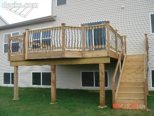 31 best elevated decks images on pinterest for High elevation deck plans