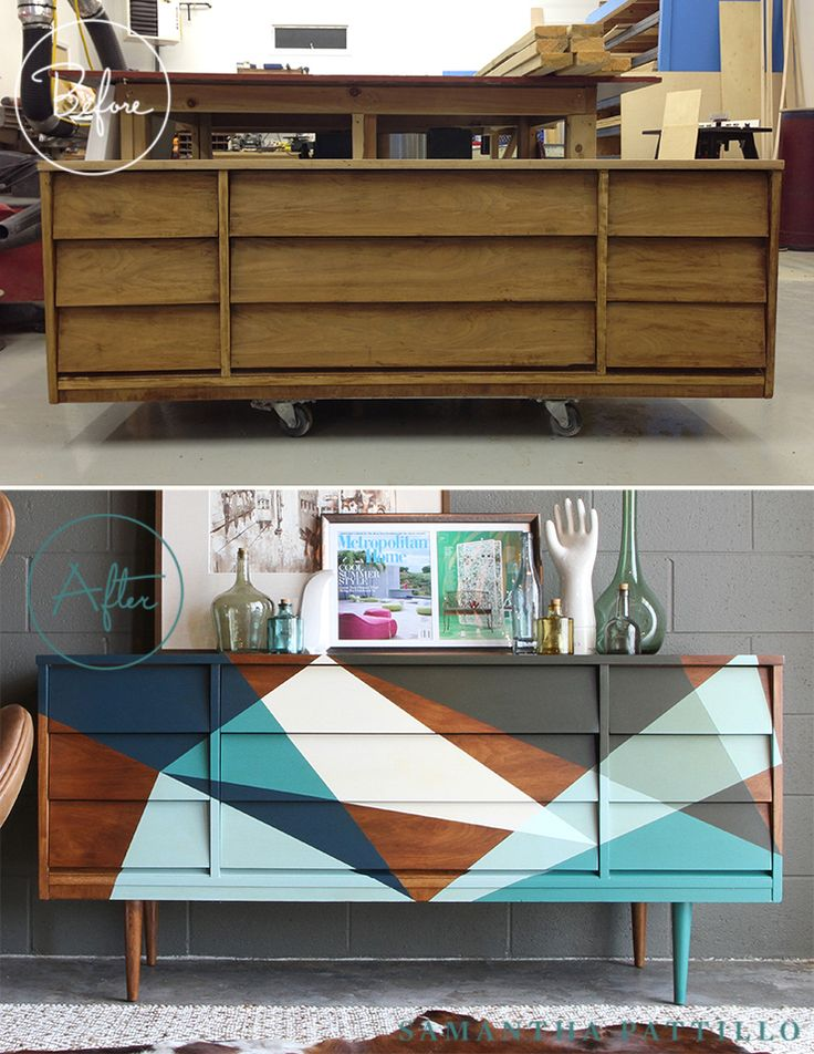 Refurbished retro mid century modern dresser credenza. Love the contrast of the dark stained wood with the multi colored geometric triangles done in shades of teal blue, aqua, white, and gray. From Samatha Pattillo.