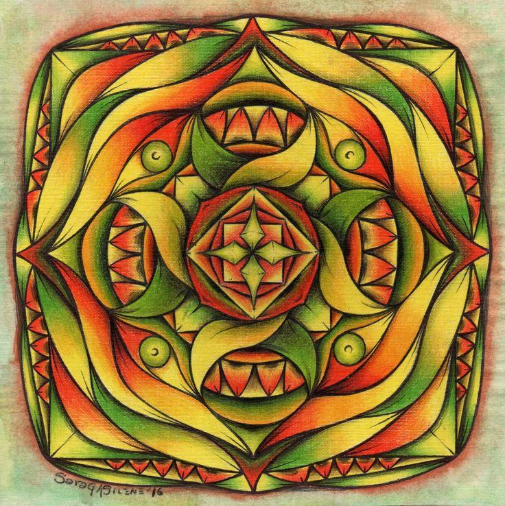 ::MANDALA#12::MANIPURA:: Lápices de colores, tinta y acuarela. 21x21cm. ENCARGO