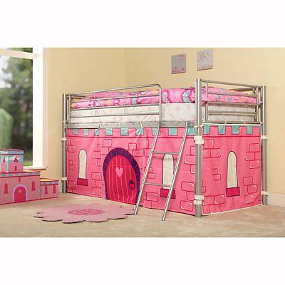 Childrens Princess Metal Mid Sleeper Cabin Bunk Kids Bed Tent Single Pink Girls
