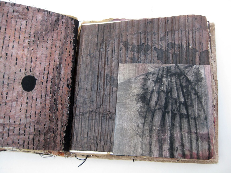 Fashion Sketchbook inspiration with layered mixed media pages & stitching; textiles portfolio // Mandy Pattullo