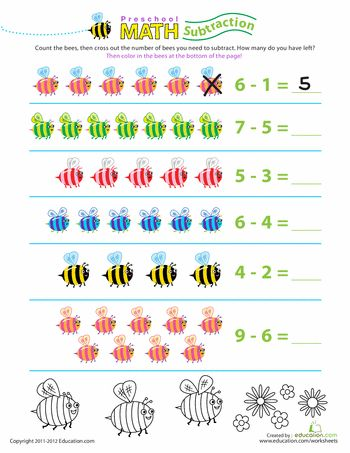 preschool math take away the bees worksheets. Black Bedroom Furniture Sets. Home Design Ideas