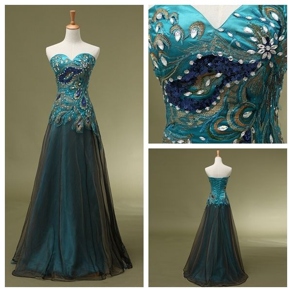 In Stock  Peacock Prom Dress Real sample Cocktail Bridesmaid Gown Party Dresses #Unbranded #Sheath #Formal