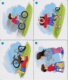 Skrive idé - sekvens, gutt, sykkel, vondt, hjelp og stell.