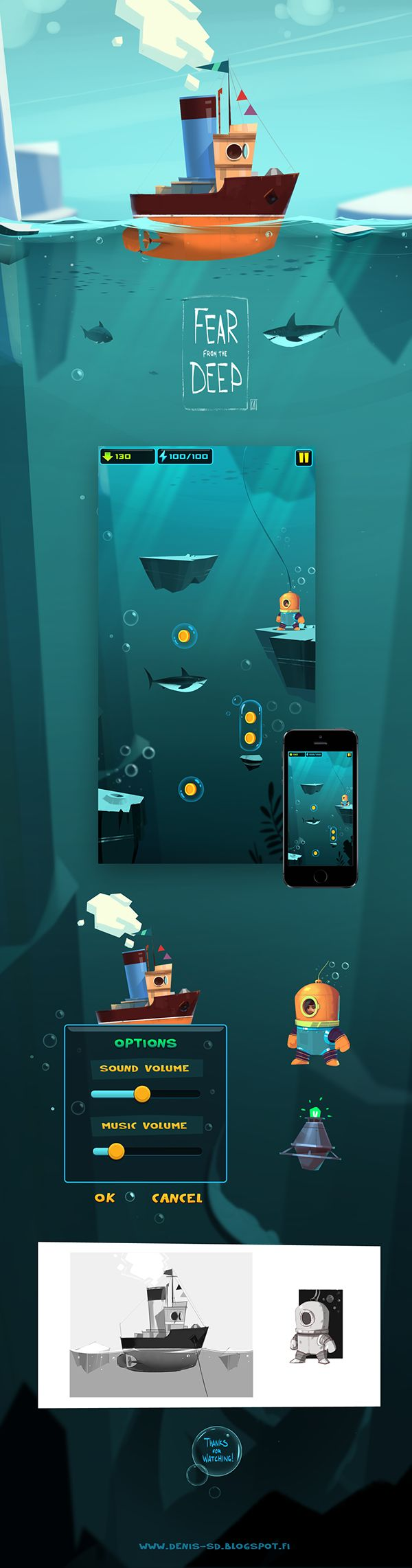 Visual development for tiny personal free2play mobile project, about adventures in ocean depths)