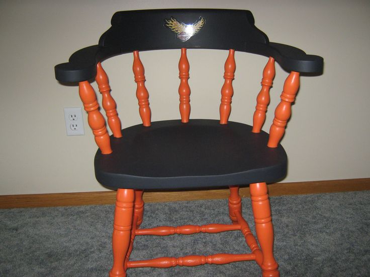 A little orange and black paint and a Harley Davidson decal really improved this chair!