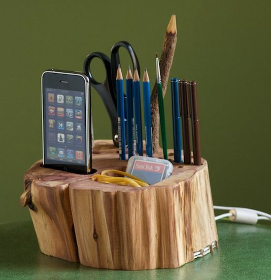 All-in-one wooden desk organizer with iphone charger!
