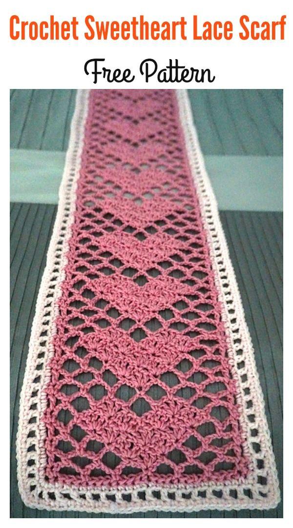 Crochet Sweetheart Lace Scarf Free Pattern