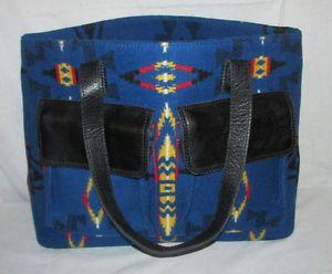 Pendleton-Blue-SouthWestern-Blanket-Design-Wool-Leather-Shoulder-Bag-Tote-Purse