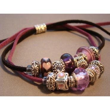 eBracelets Purple Passion (Faux) Leather Double Strand Bracelet Charm, Leather, Wrap Bracelets