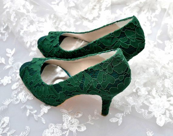 Dark Green Guipure french Lace Bridal