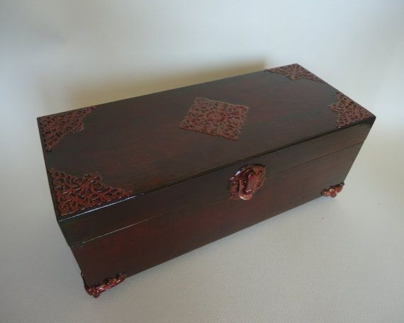 Wooden tea box. Tea treasury. Coffer for tea. Mahogany and copper plating teabox. Casings. Box for tea bags with three compartments & 25+ unique Wooden tea box ideas on Pinterest | Decoupage box Tea ... Aboutintivar.Com