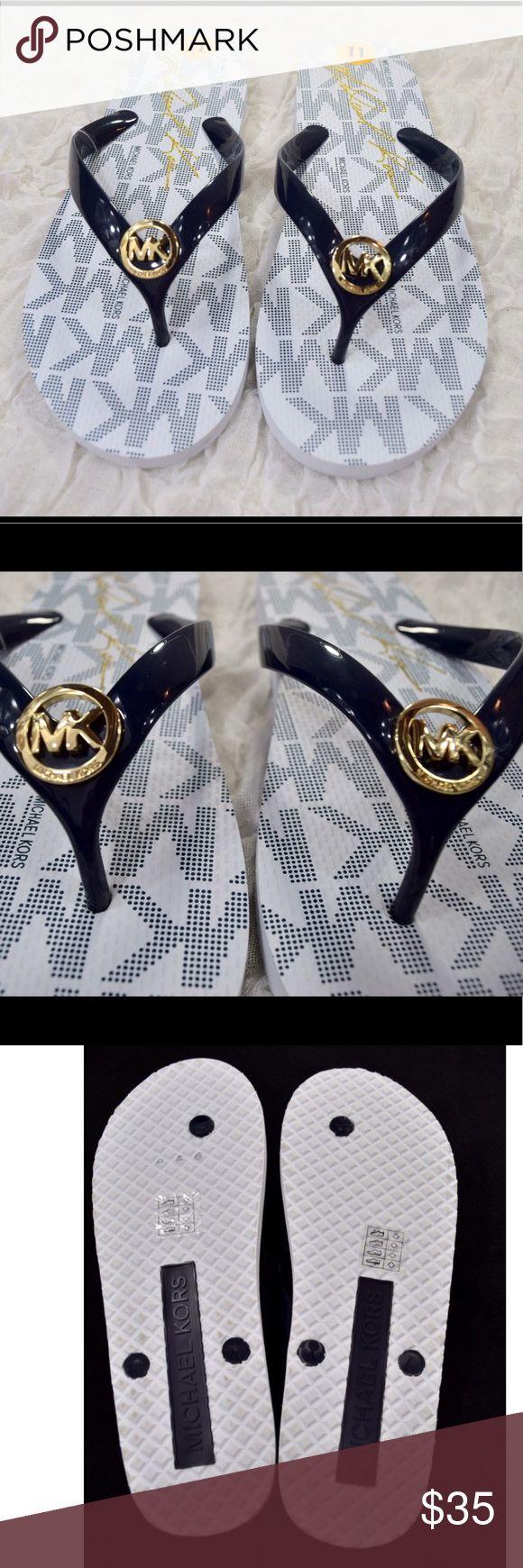NEW Navy Blue Michael Kors Flip Flops Michael Kors flip flops🔹Size 11🔹Navy Blue and white🔹Gold MK pendant🔹Brand new🔹Smoke and pet free home Michael Kors Shoes Sandals