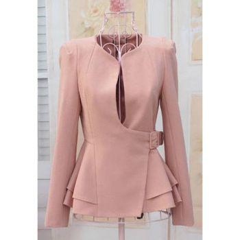 Stylish Slimming Fit Flouncing Hem Puff Long Sleeve Women's Suit Coat  $23.46