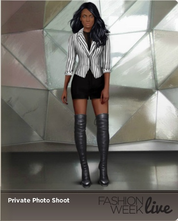 One of our favorite snapshots from explore! This player's model is wearing:  Jet over the knee lace-up boots  Taupe striped jacket  See through blouse