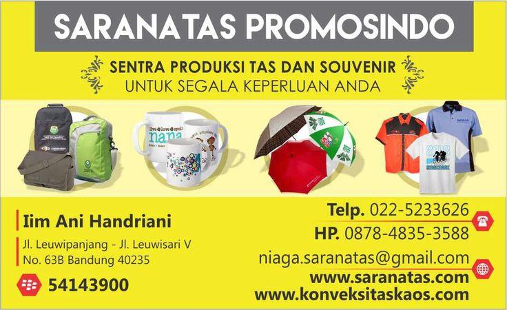 Desain kartu nama Saranatas Promosindo berwarna kuning.