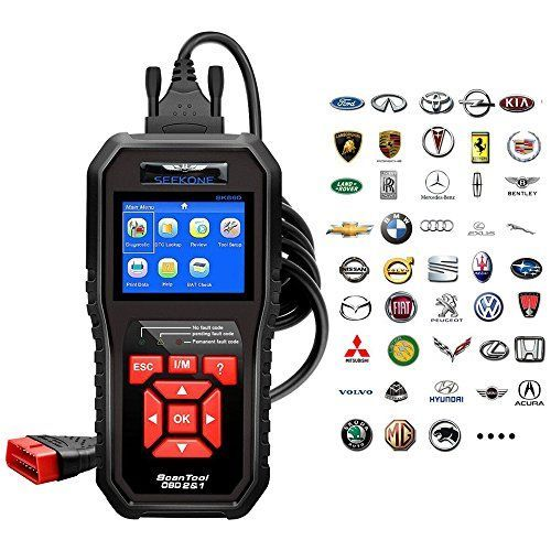 OBD2 Scanner, Seekone Professional Car Auto Diagnostic Code Reader OBDII & CAN Vehicle Engine O2 Sensor Systems EOBD Scanners Tool for all OBDII Protocol Cars Since 1996(Upgraded SR860) - SEEKONE SK860 Pro OBDII EOBD code reader is an essential scan tool which allows DIY Mechanic or car owners to verify repairs, check State Emission Monitor Status and solve basic engine problems quickly and efficiently. How to verify whether the vehicle is ready to pass the emission test? LED indi...