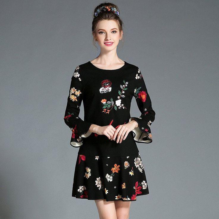 Women Black Long Sleeve Ruffle Trim Viscose Blends Knit Autumn Winter Embroidery Printed Floral Dress Plus Size l-5xl