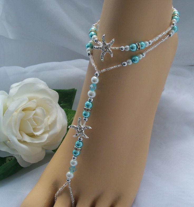 Blue Starfish Foot Jewelry Wedding Starfish by JewelryByAngel, $37.00
