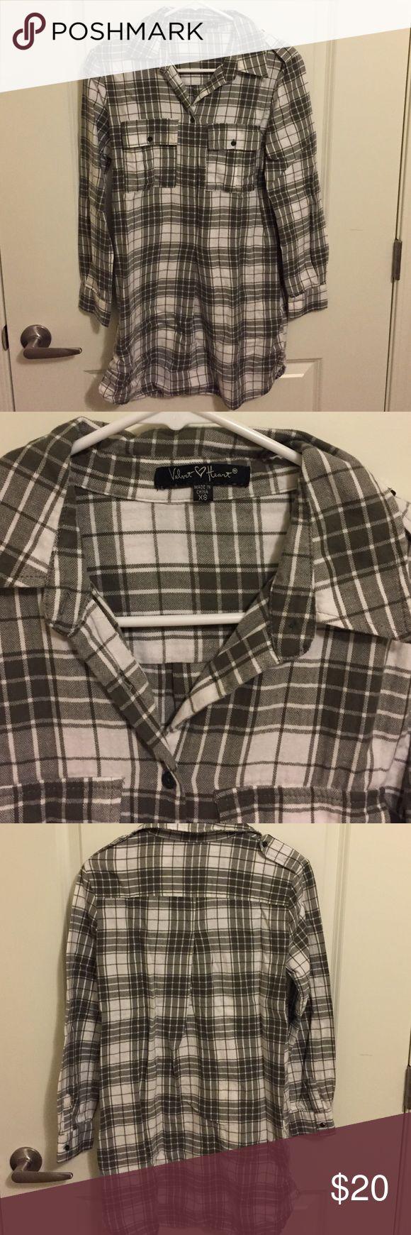 Long olive green plaid shirt Long Olive Green Plaid Shirt - Velvet Heart- XS Velvet Heart Tops Tunics