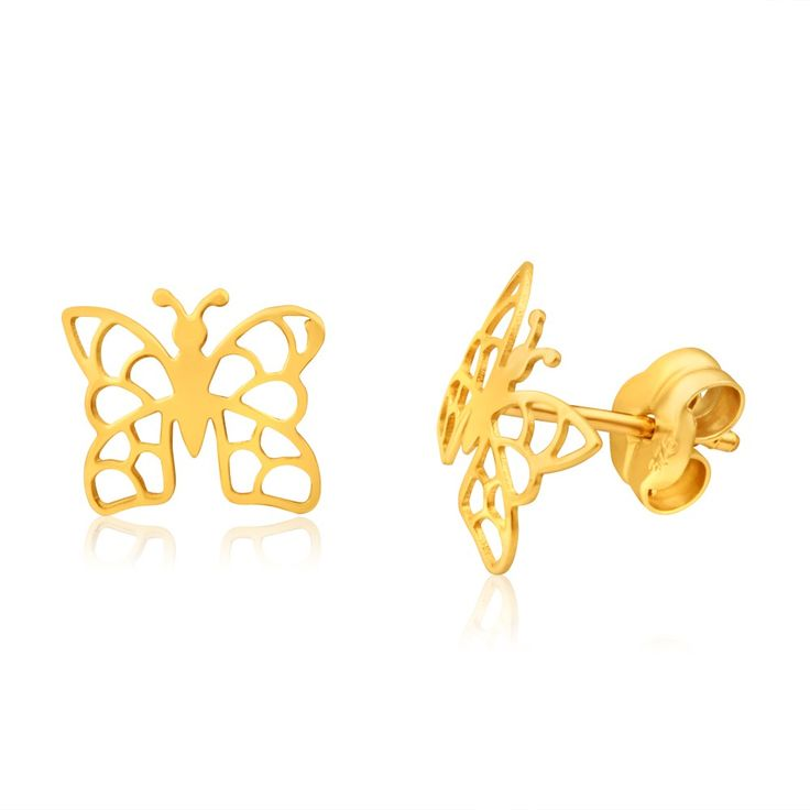 Butterfly Filigree Stud Earrings in 9ct Yellow Gold