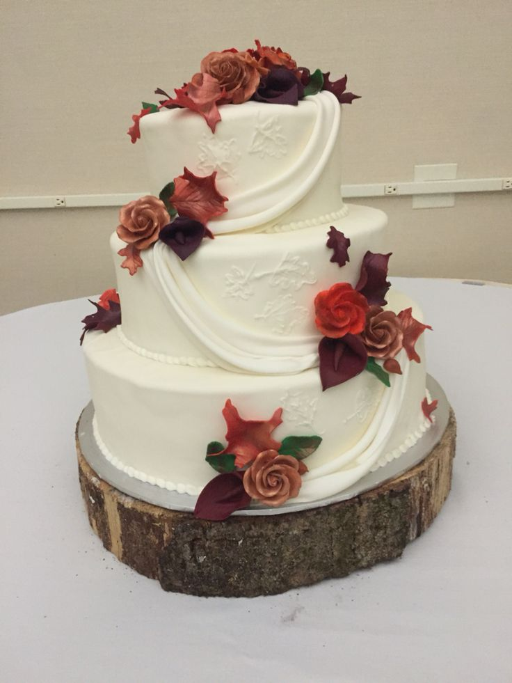 elegant fall wedding cakes fall wedding cake ivory draped leaves rustic 13960