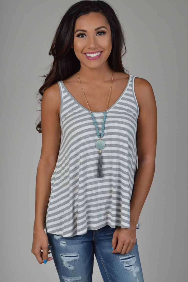 Heather Grey Striped Loose Fit Top