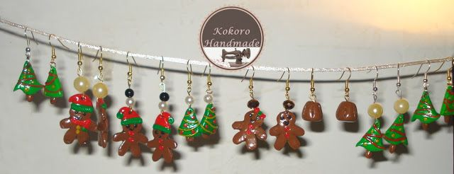 kokoro handmade: orecchini natalizi fimo - polymer clay earrings