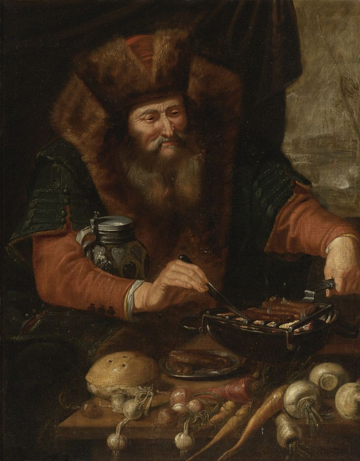 Attributed to Artus Wolfaerts  (1581-1641)  —  Bearded Man Cooking Sausages  (3122x4000):
