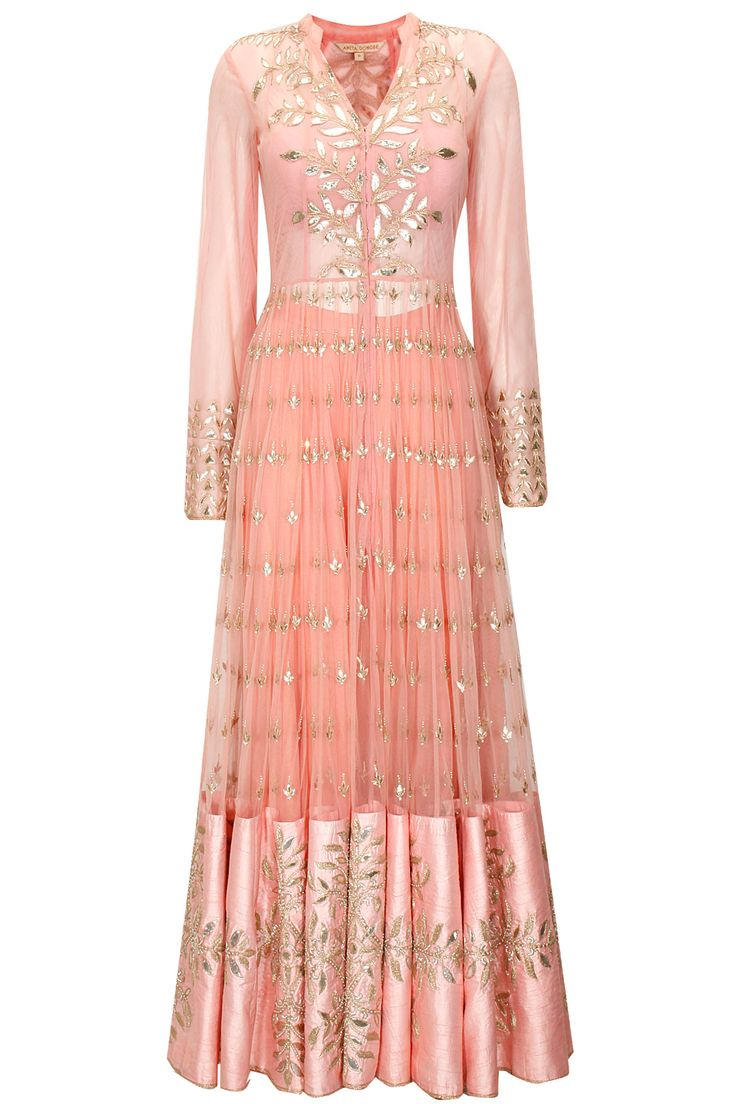 Blush pink gota patti embroidered jacket with sharara pants by Anita Dongre. Shop now: http://www.perniaspopupshop.com/designers/anita-dongre. #sharara #jacket #anitadongre #perniaspopupshop #shopnow #happyshopping