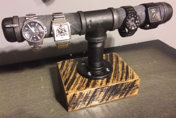 Custom Made Watch holder - Reclaimed Barn Wood & Gas Pipe - Scorched finish on Etsy, $85.00