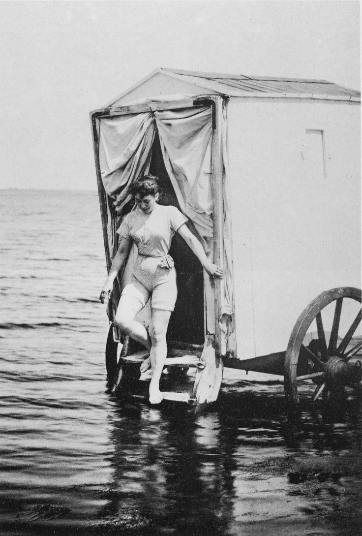 """The bathing machine was a device popular in the 18th and 19th centuries to allow people to change out of their usual clothes, possibly change into swimwear and then wade in the ocean at beaches. Bathing machines were roofed and walled wooden carts rolled into the sea.  The bathing machine was part of sea-bathing etiquette more rigorously enforced upon women than men but to be observed by both sexes among those who wished to be """"proper."""""""