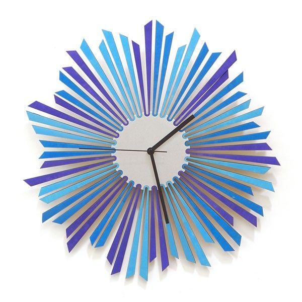 The Moon Wall Clock – blue modern wooden clock